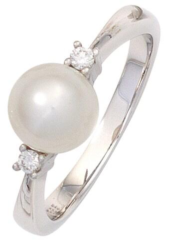 JOBO Perlenring, 585 Weißgold Süßwasser-Zuchtperle und 2 Diamanten kaufen