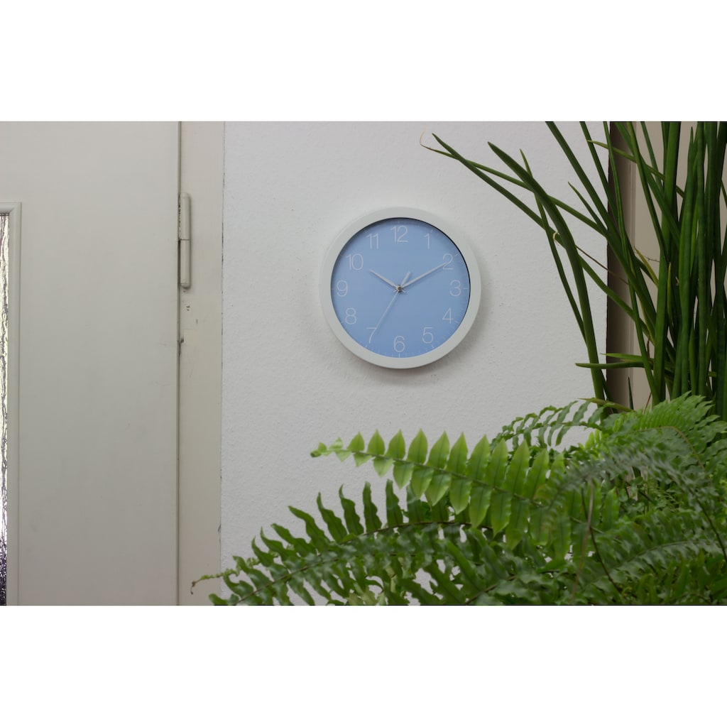 EUROTIME Wanduhr »Trend Alu Pastell Blau, 86138-00-1«