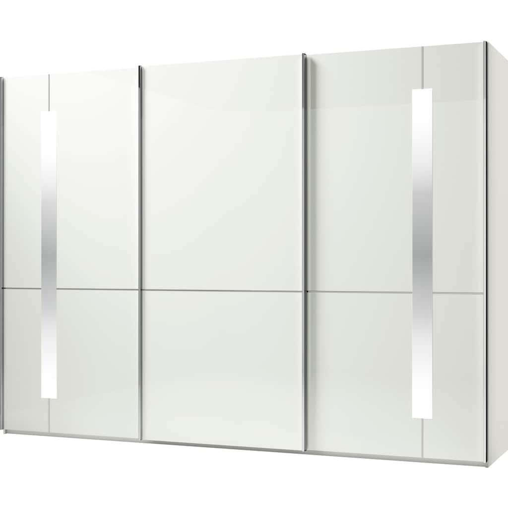 GALLERY M Schwebetürenschrank »Imola W«, inkl. Einlegeböden und Kleiderstangen, mit Glastüren inkl. Zierspiegel, Aufleistungen in chrom, in zwei Höhen
