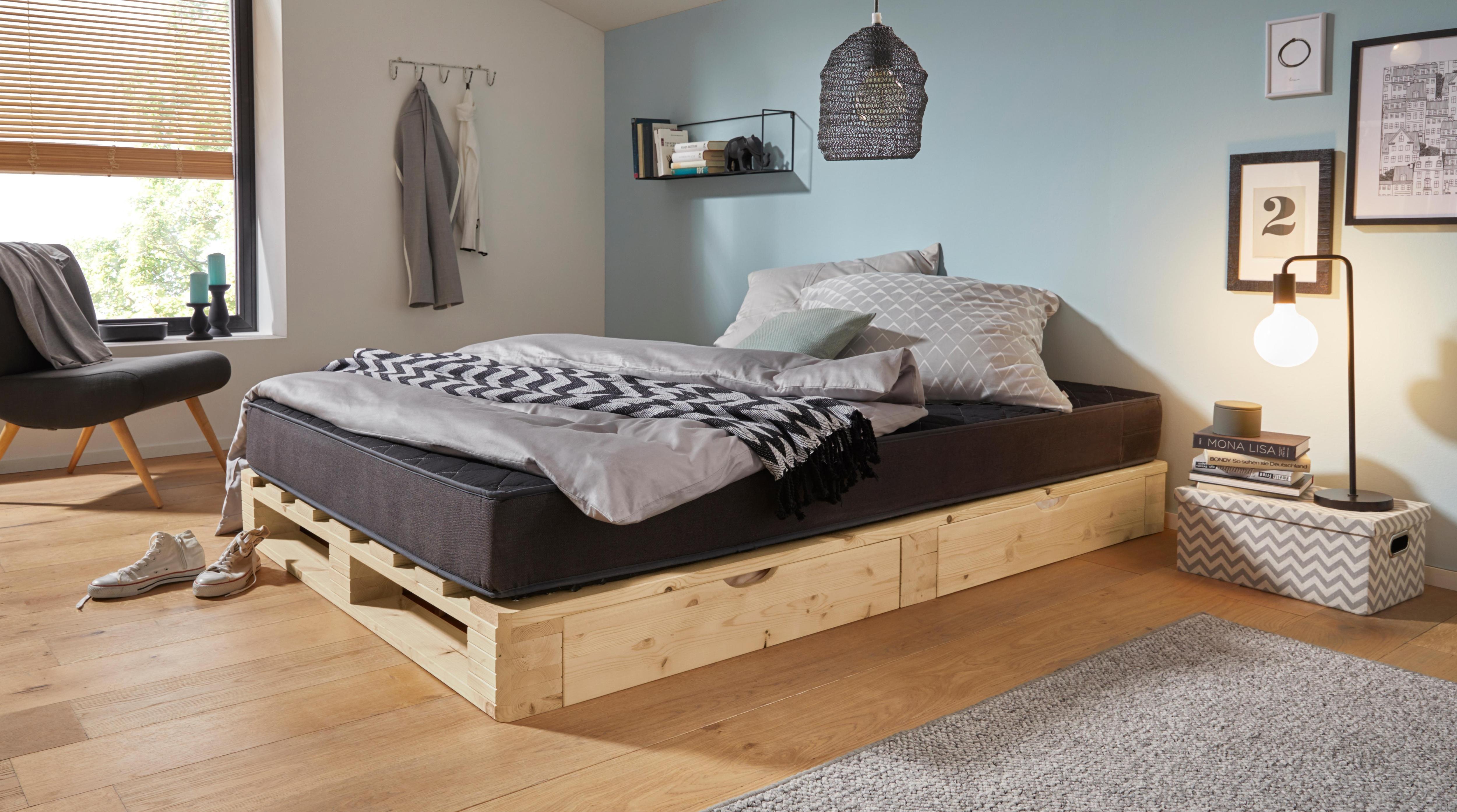 Berühmt Palettenbett inkl. Bettkasten aus massiver Kiefer kaufen   BAUR ZF33