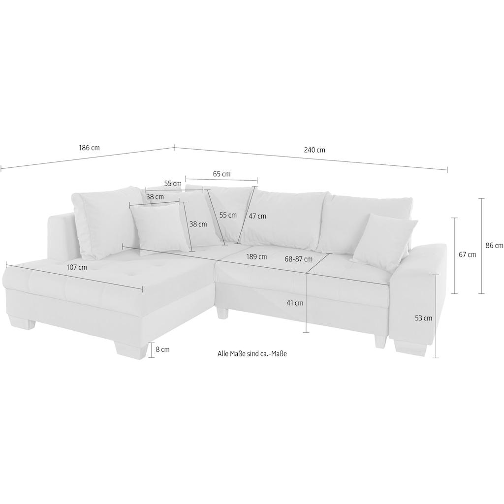 Nova Via Ecksofa, wahlweise mit Kaltschaum (140kg Belastung/Sitz), AquaClean-Stoff für leichte Reinigung mit Wasser und Bettfunktion / Bettkasten