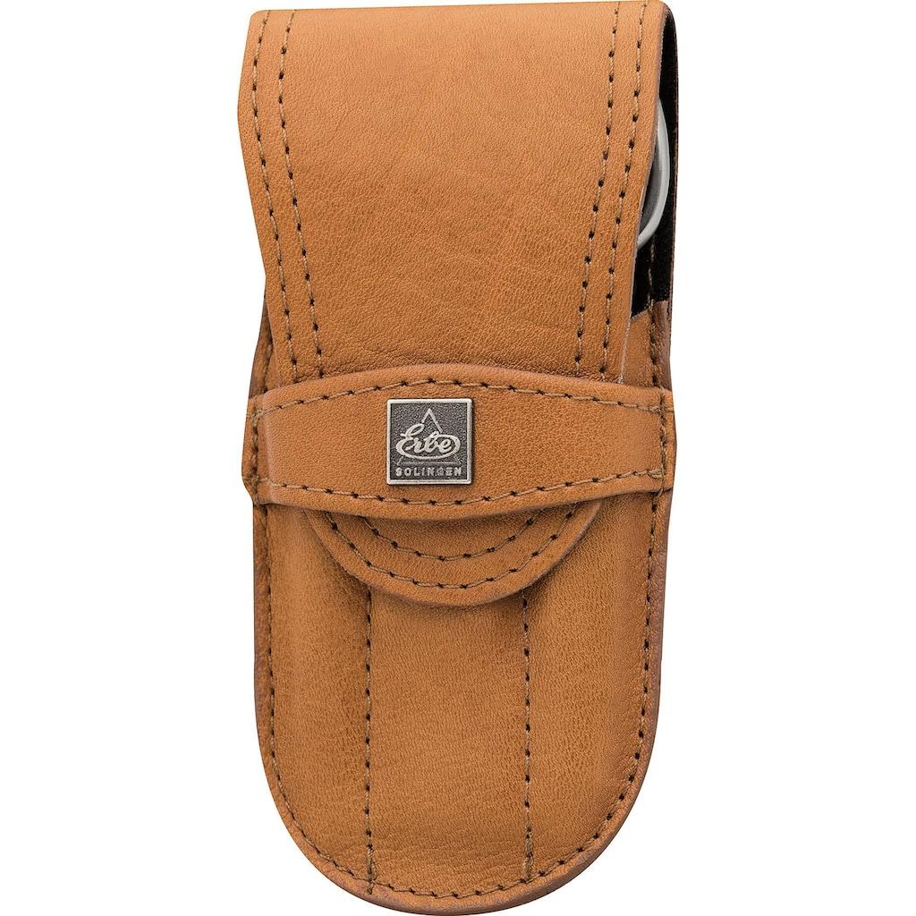 ERBE Maniküre-Etui »Taschenetui mit Steckverschluss aus echtem Leder«, bestückt mit Solinger Premium Stahlwaren in Edelstahl