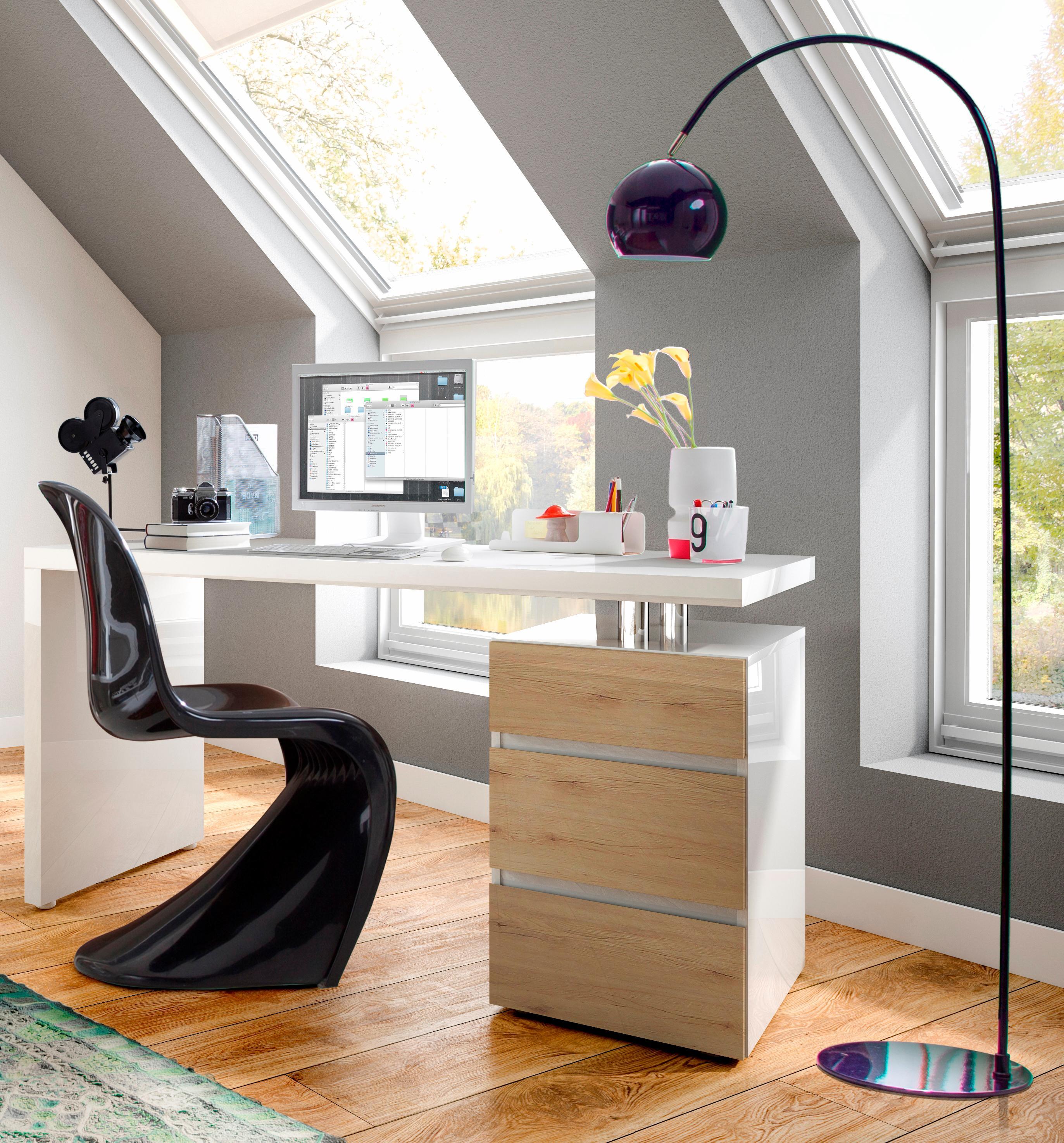 HMW Schreibtisch Barna mit Container und griffloser Optik