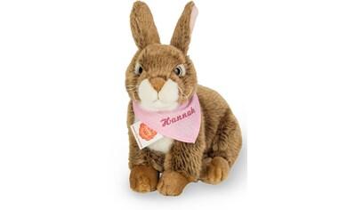 Teddy Hermann® Kuscheltier »Hase dunkelbraun mit rosa Halstuch, 25 cm«, mit individueller Bestickung kaufen