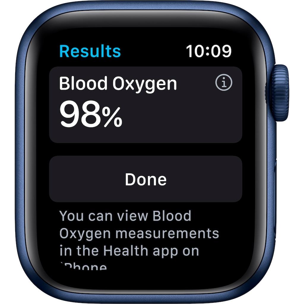 Apple Watch »Series 6 GPS + Cellular, Aluminiumgehäuse mit Sport 40mm«, (Watch OS 6 inkl. Ladestation (magnetisches Ladekabel)