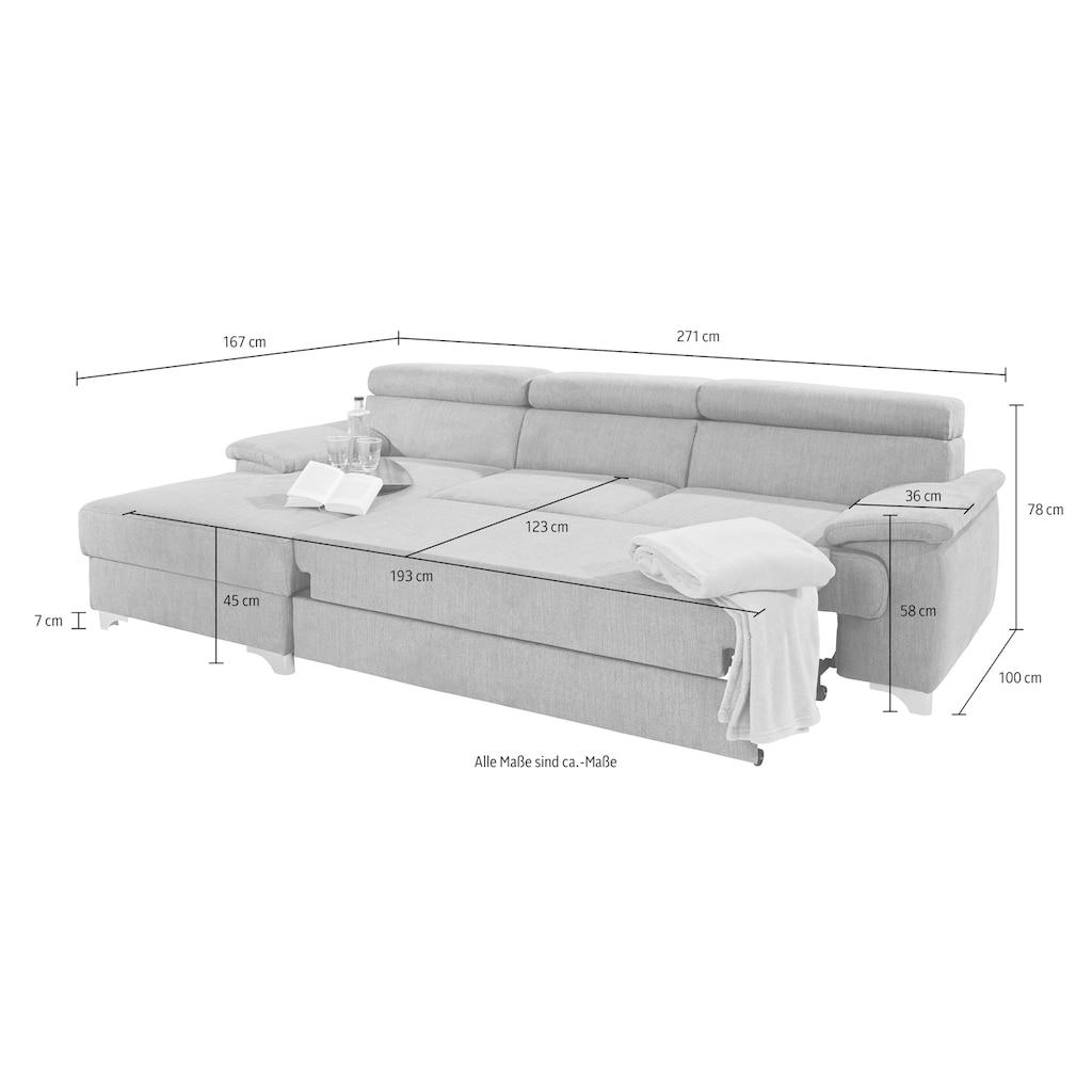DOMO collection Ecksofa, wahlweise mit Bettfunktion und Bettkasten