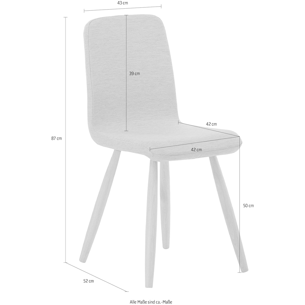 Mayer Sitzmöbel Esszimmerstuhl »myTILDA«, Vierfußgestell Metall und Eiche Massivholz, Sitzschale gepolstert