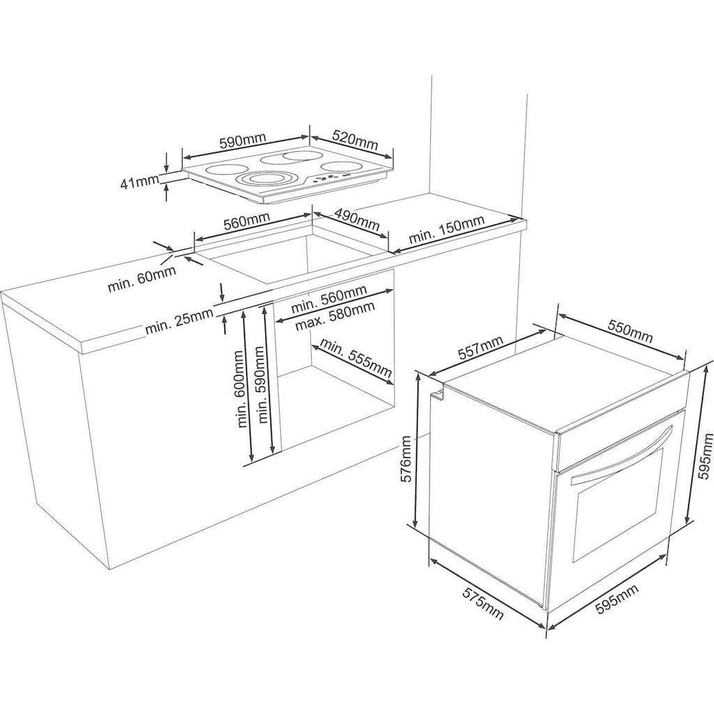 VESTEL Elektro-Herd-Set »VEH15016-1 + VEK24036«, VEH15016-1