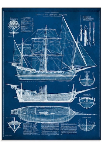 Artland Glasbild »Entwurf für ein Antikes Schiff I«, Boote & Schiffe, (1 St.) kaufen