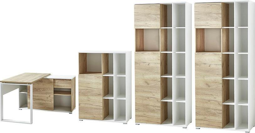 Germania Büromöbel-Set GW-Lioni (4-tlg.) | Büro > Büromöbel-Serien | Weiß | Spanplatte - Eiche - Abs - Metall - Melamin | GERMANIA