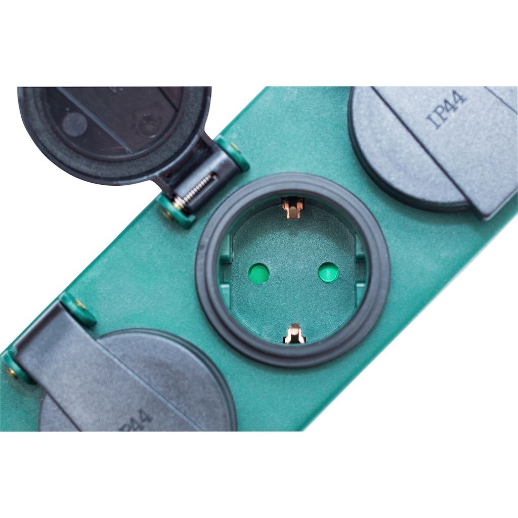 meister Steckdosenleiste, 5-fach, (Schalterbeleuchtung-Klappendeckel Kindersicherung Kabellänge 1,4 m), spritzwassergeschützt