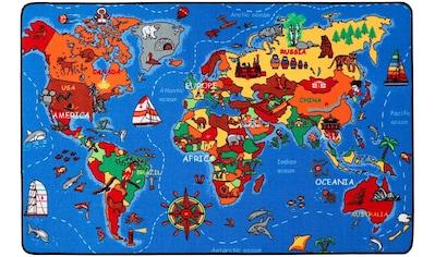 Primaflor-Ideen in Textil Kinderteppich »WELTKARTE«, rechteckig, 5 mm Höhe, Spielteppich, Motiv Weltkarte kaufen
