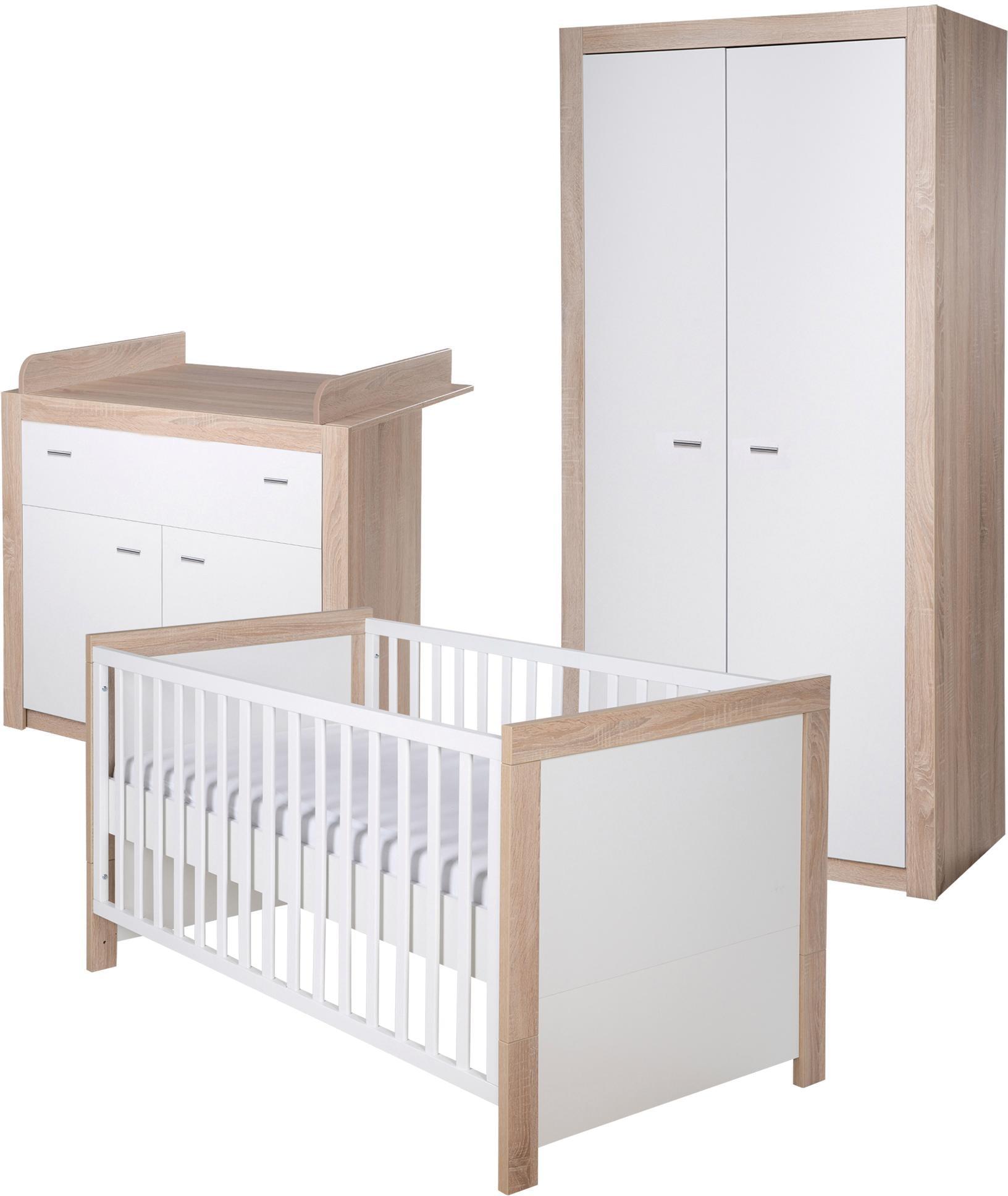 BABYZIMMER SET Babybett Wickelkomode Kleiderschrank Schrank WEIß EICHE SÄGERAU