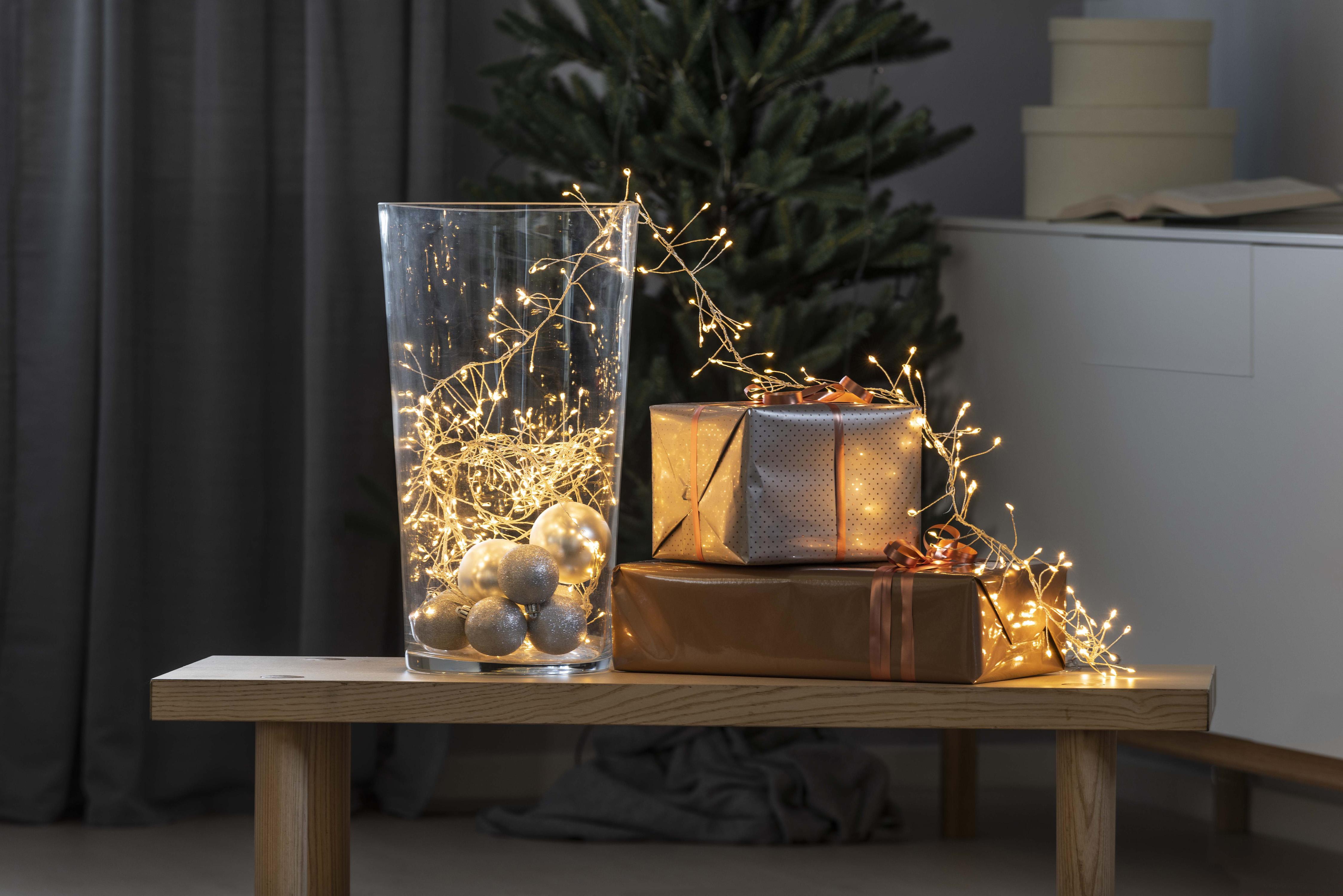 KONSTSMIDE Micro LED Büschellichterkette Drahtlichterkette Wohnen/Accessoires & Leuchten/Lampen & Leuchten/Dekoleuchten/Deko-Lichterketten
