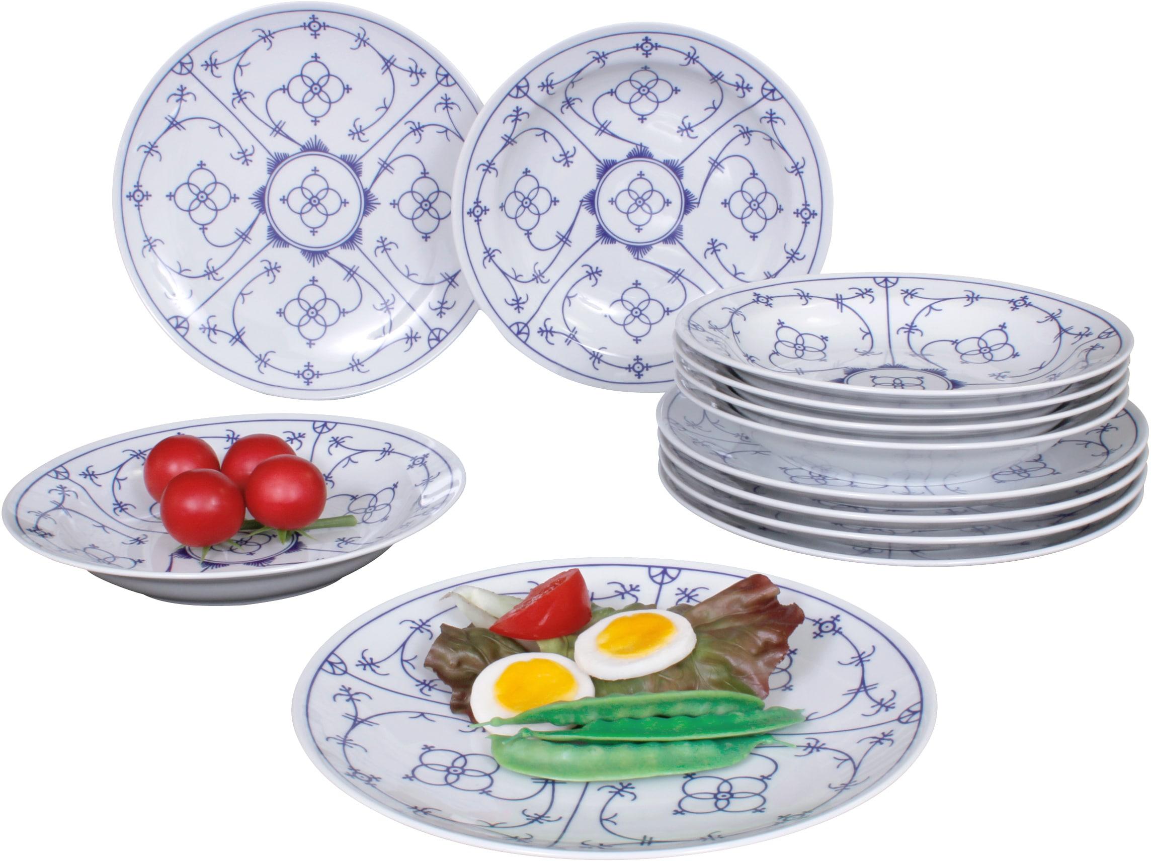 Eschenbach Tafelservice Winterling - Indischblau (12-tlg.), Porzellan weiß Geschirr-Sets Geschirr, Tischaccessoires Haushaltswaren