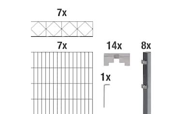 GAH Alberts Doppelstabmattenzaun »Bergen«, anthrazit, 120 cm hoch, 7 Matten für 14 m,... kaufen