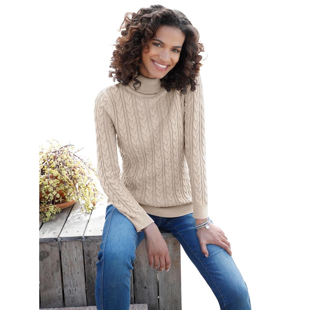 Pullover im schön gestalteten Zopfmuster vorne und an den Ärmeln