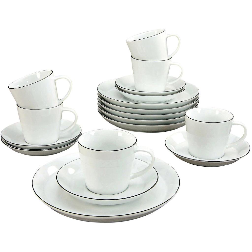 CreaTable Kaffeeservice »Black Line«, (Set, 18 tlg.), Mikrowellengeeignet
