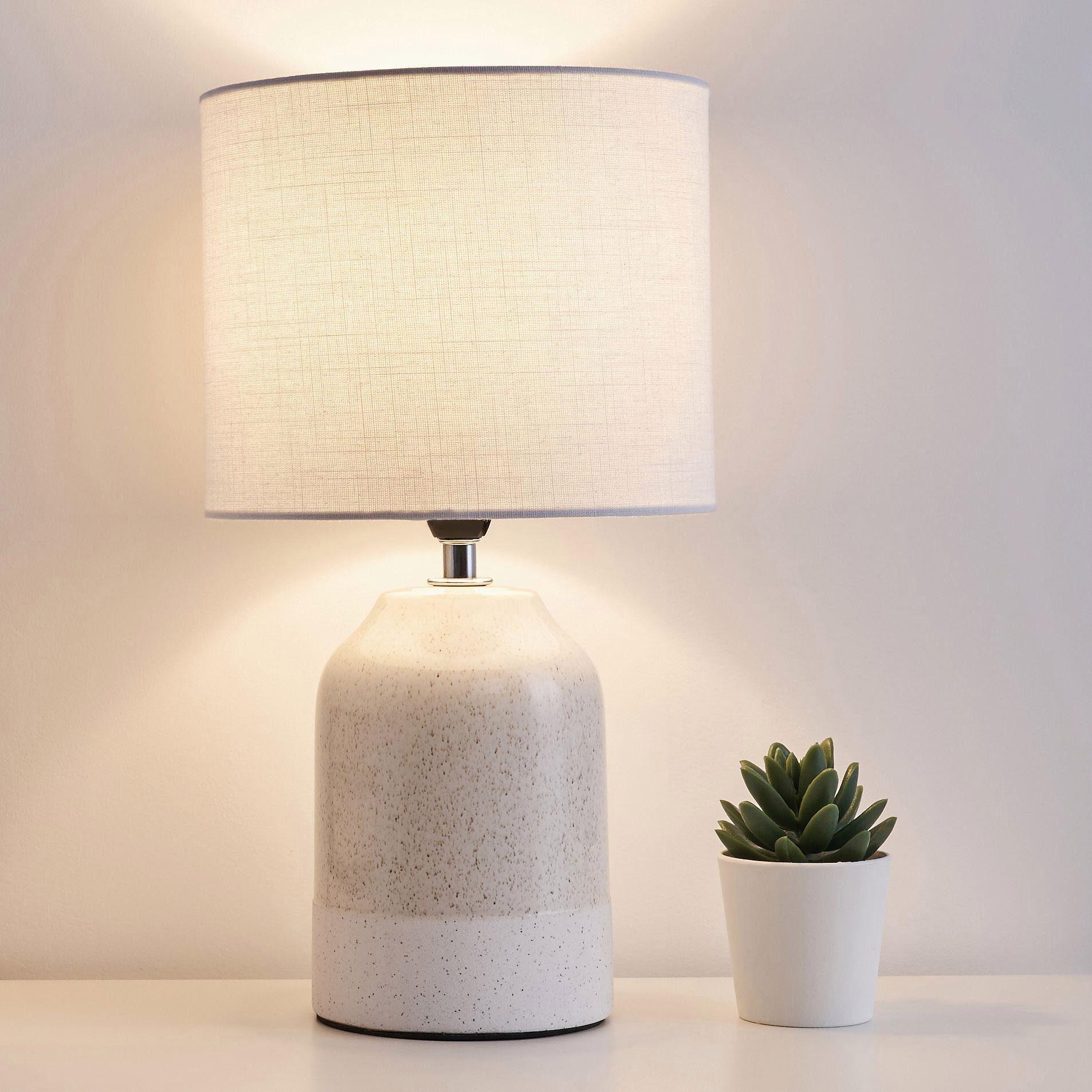 Pauleen Tischleuchte Sandy Glow, E14, Stoffschirm Beige, Weiß, Keramik