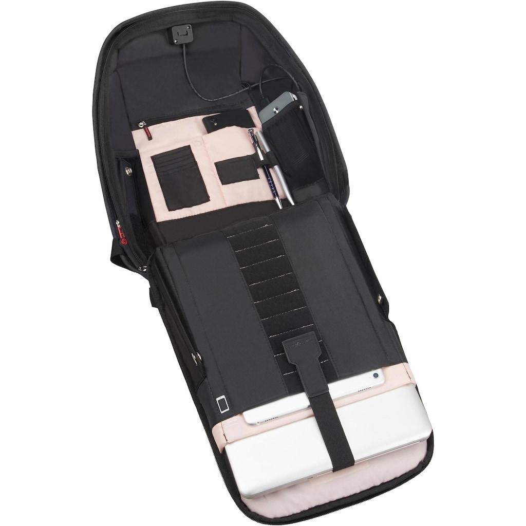 Samsonite Laptoprucksack »Securipak S, black steel«, Reflektoren, aus recycelten Material