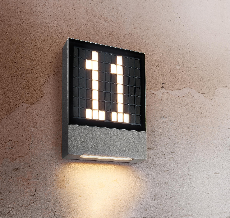 HEITRONIC LED Wandleuchte Pavia, LED-Modul, 1 St., Warmweiß, Hausnummer selbst erstellbar per werkzeuglosem Stecksystem