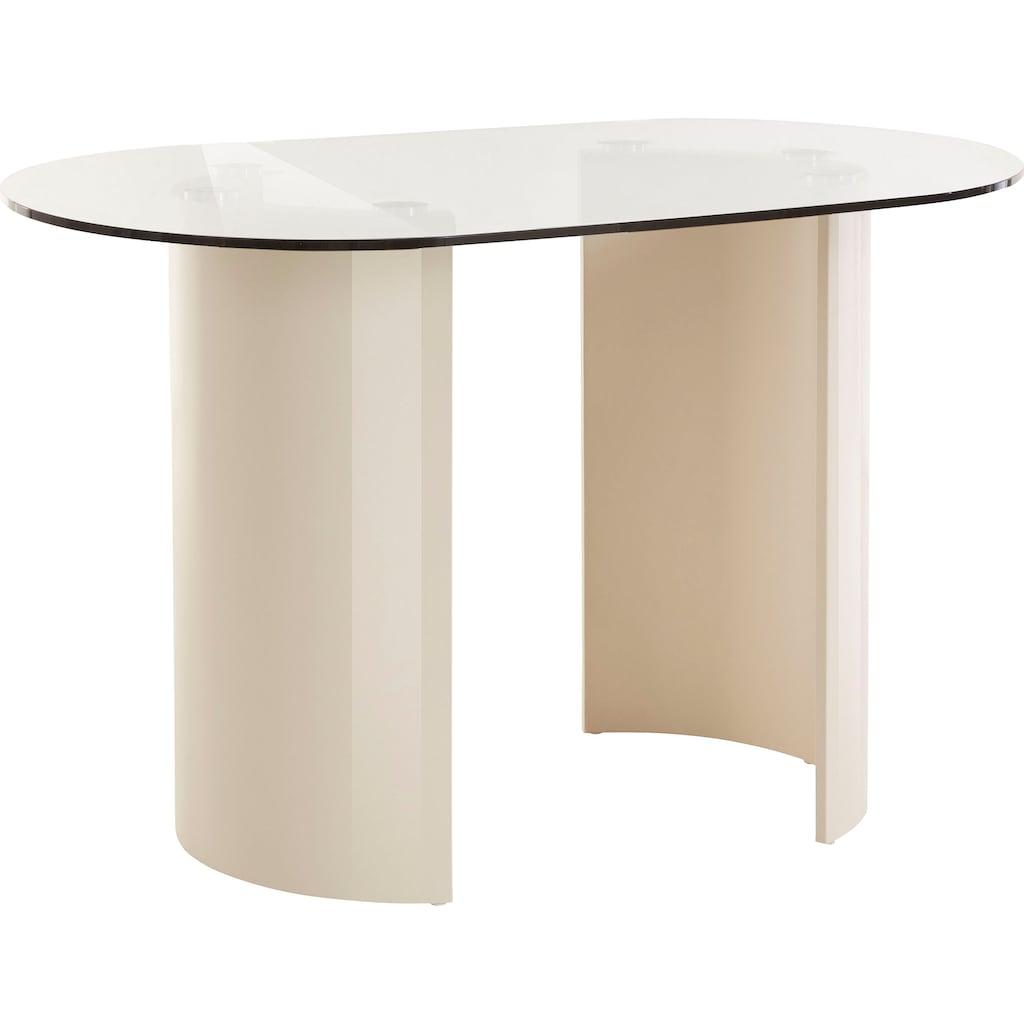LeGer Home by Lena Gercke Esstisch »Namika«, In 3 Größen erhältlich, Tischplatte aus Glas, Gestell aus Metall