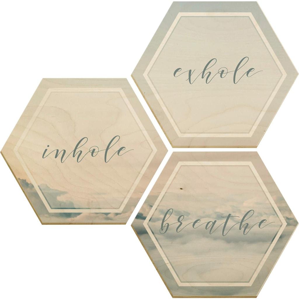Wall-Art Holzbild »Inhale Exhale Breathe«, (Set)