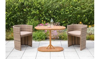 MERXX Balkonset »Ancona«, 5 - tlg., 2 Sessel, Tisch 100x50 cm, Stahl/Holz/Kunststoff kaufen