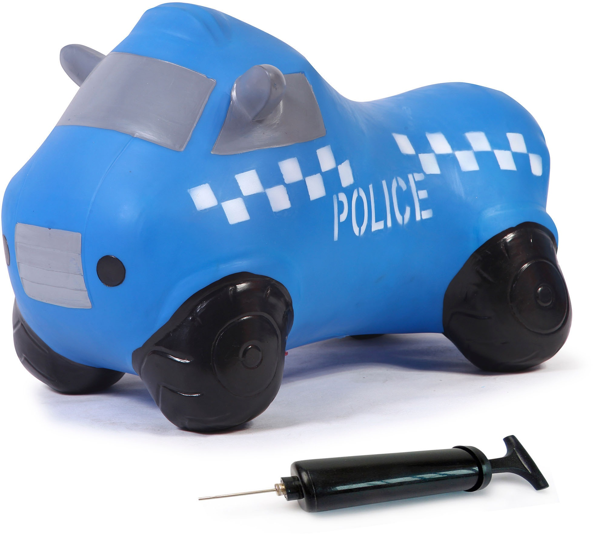 Jamara Hüpftier Police Truck blau Kinder Schaukeln Hopser Baby Kleinkind Hüpfspielzeug
