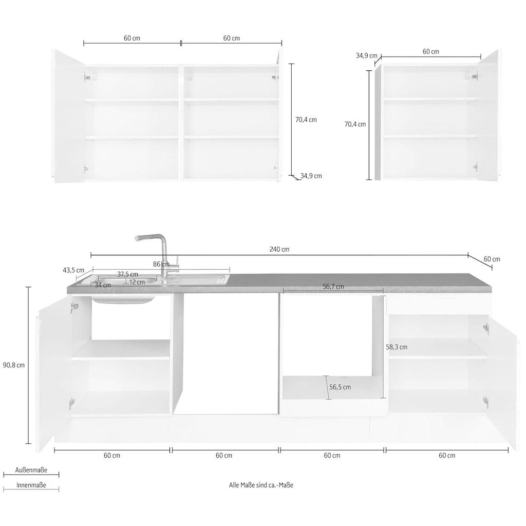 OPTIFIT Küchenzeile »Avio«, Premium-Küche, ohne E-Geräte, mit Soft-Close-Funktion, Vollauszug, 38 mm starker Arbeitsplatte und hochwertigen Hochglanz-Fronten, Breite 240 cm