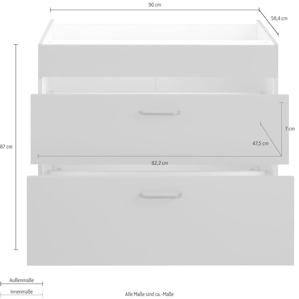 OPTIFIT Unterschrank »Elga«, mit Soft-Close-Funktion, großen Vollauszügen, höhenverstellbaren Füßen und Metallgriffen, Breite 90 cm