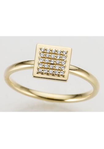 Firetti Goldring »Quadrat, glänzend, teilw. rhodiniert, massiv«, mit Brillanten kaufen