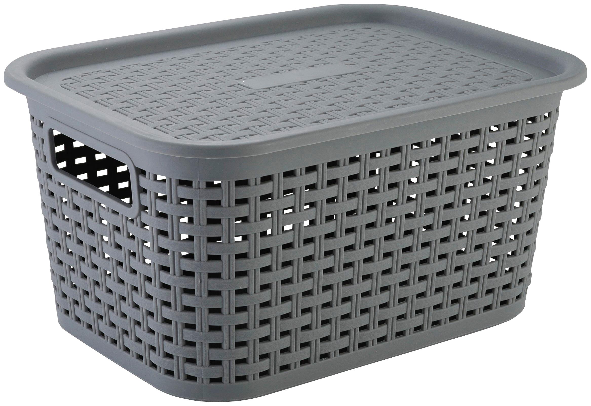 axentia Aufbewahrungskorb Korb aus Kunststoff, mittel, mit Deckel grau Bad Sanitär