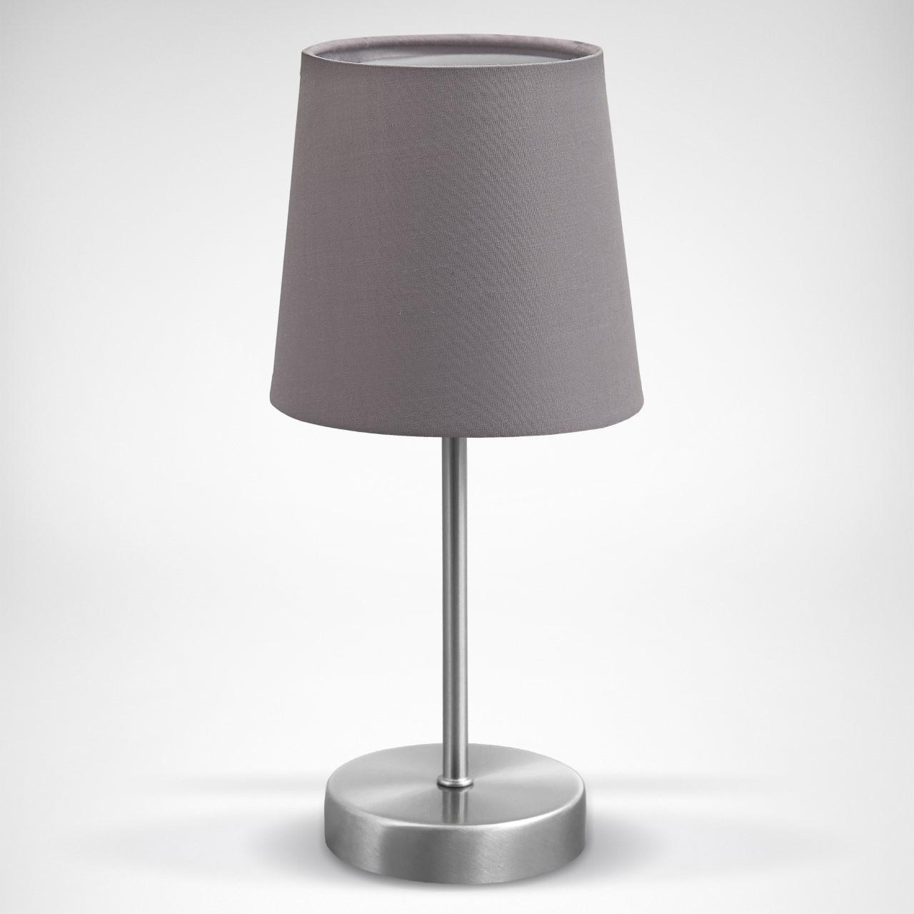 B.K.Licht Tischleuchte, E14, LED Tischlampe Stoff Dekolampe Nachttisch-Leuchte Wohnzimmerlampen E14 grau