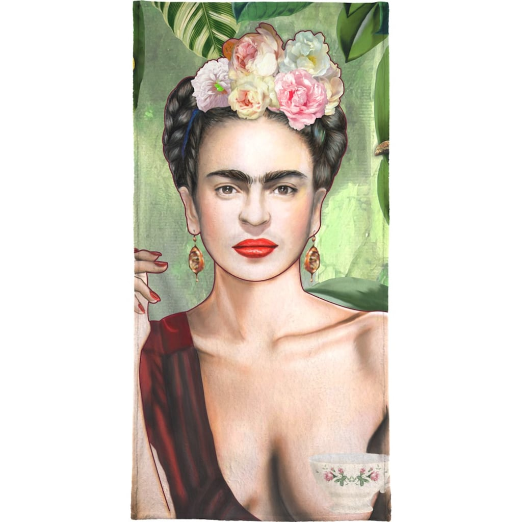 Juniqe Strandtuch »Frida Con Amigos«, (1 St.), Weiche Frottee-Veloursqualität