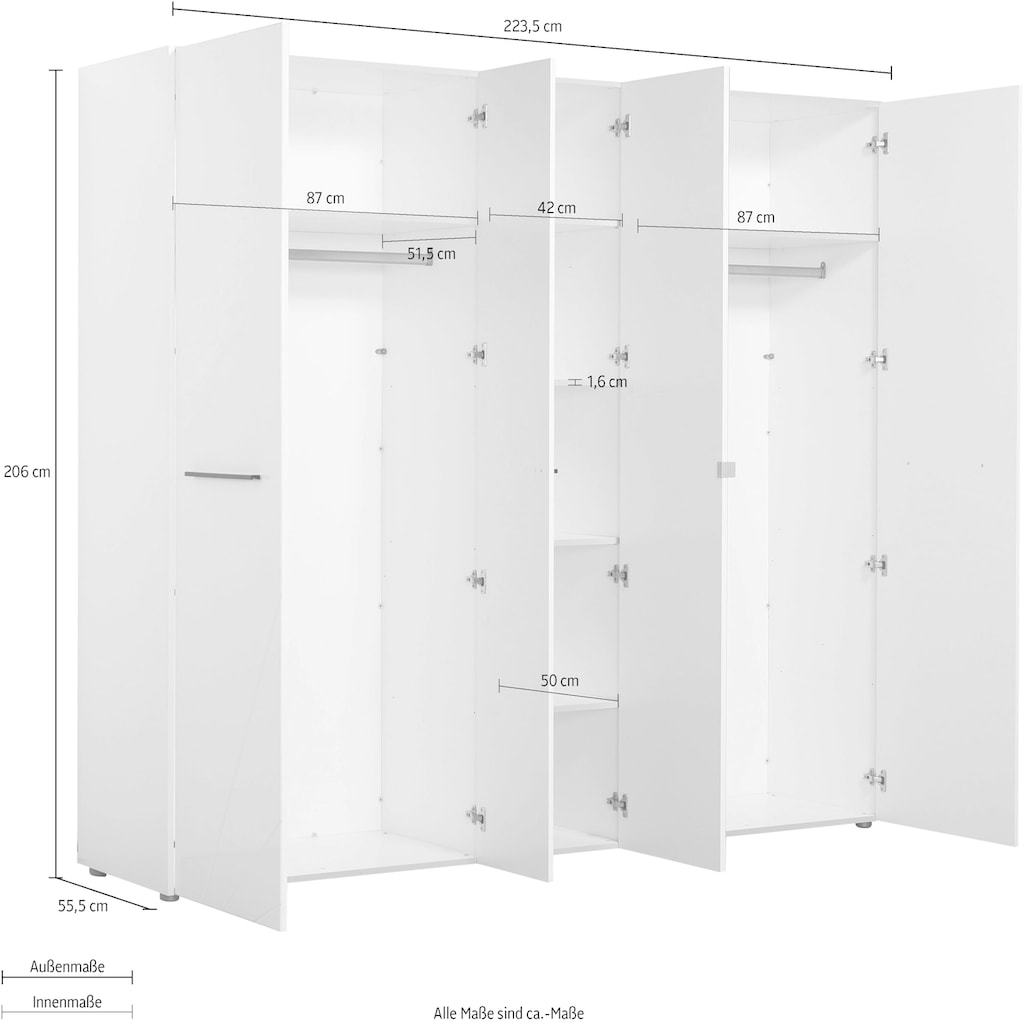 Kleiderschrank »Ksanti«, hochglänzende Front, mit Spiegel