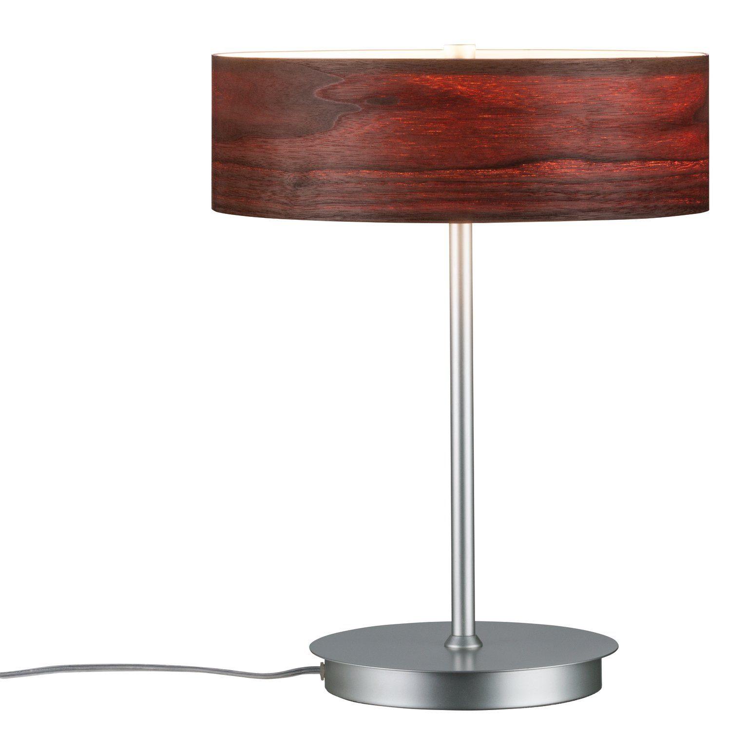 Paulmann LED Tischleuchte Neordic Liska Holz dunkel/Chrom matt, E27, 1 St.