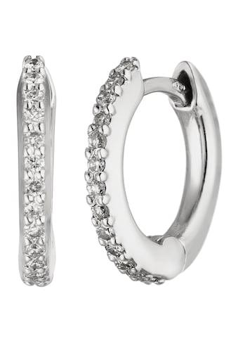 JOBO Paar Creolen, 750 Weißgold mit 26 Diamanten 12 mm kaufen