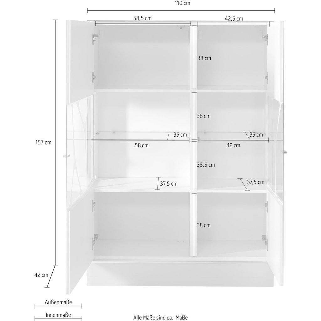 LEONARDO Highboard »CUBE«, mit Genetics, wahlweise mit Beleuchtung, Höhe 157 cm