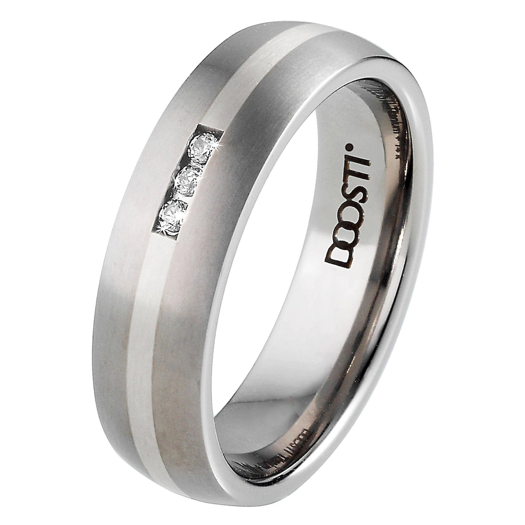 DOOSTI Trauring »TS-01-D, TS-01-H, SILVER LINE«, Made in Germany - wahlweise mit oder ohne Zirkonia