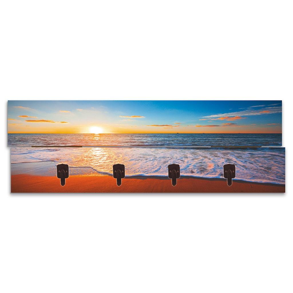 Artland Garderobenpaneel »Sonnenuntergang und das Meer«, platzsparende Wandgarderobe aus Holz mit 4 Haken, geeignet für kleinen, schmalen Flur, Flurgarderobe
