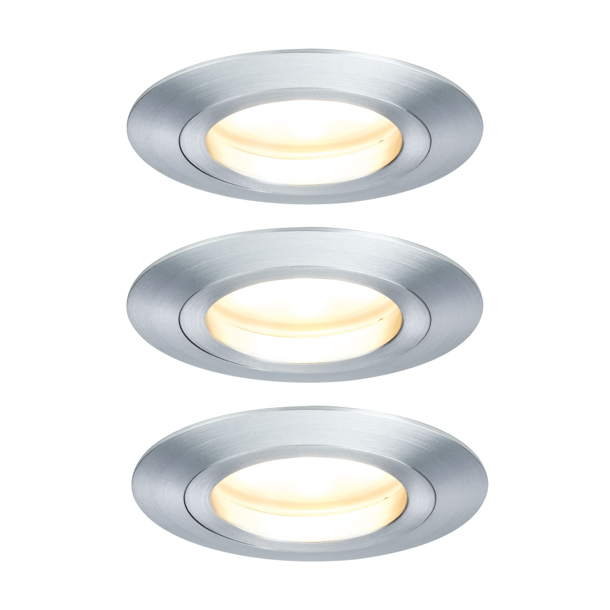 Paulmann LED Einbaustrahler 3er-Set dimmbar Silberfarben rund 7W Alu, 3 St., Warmweiß