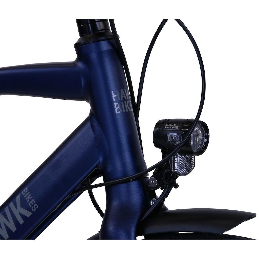 HAWK Bikes Trekkingrad »HAWK Trekking Gent Super Deluxe Ocean Blue«, 8 Gang, Shimano, Nexus Schaltwerk