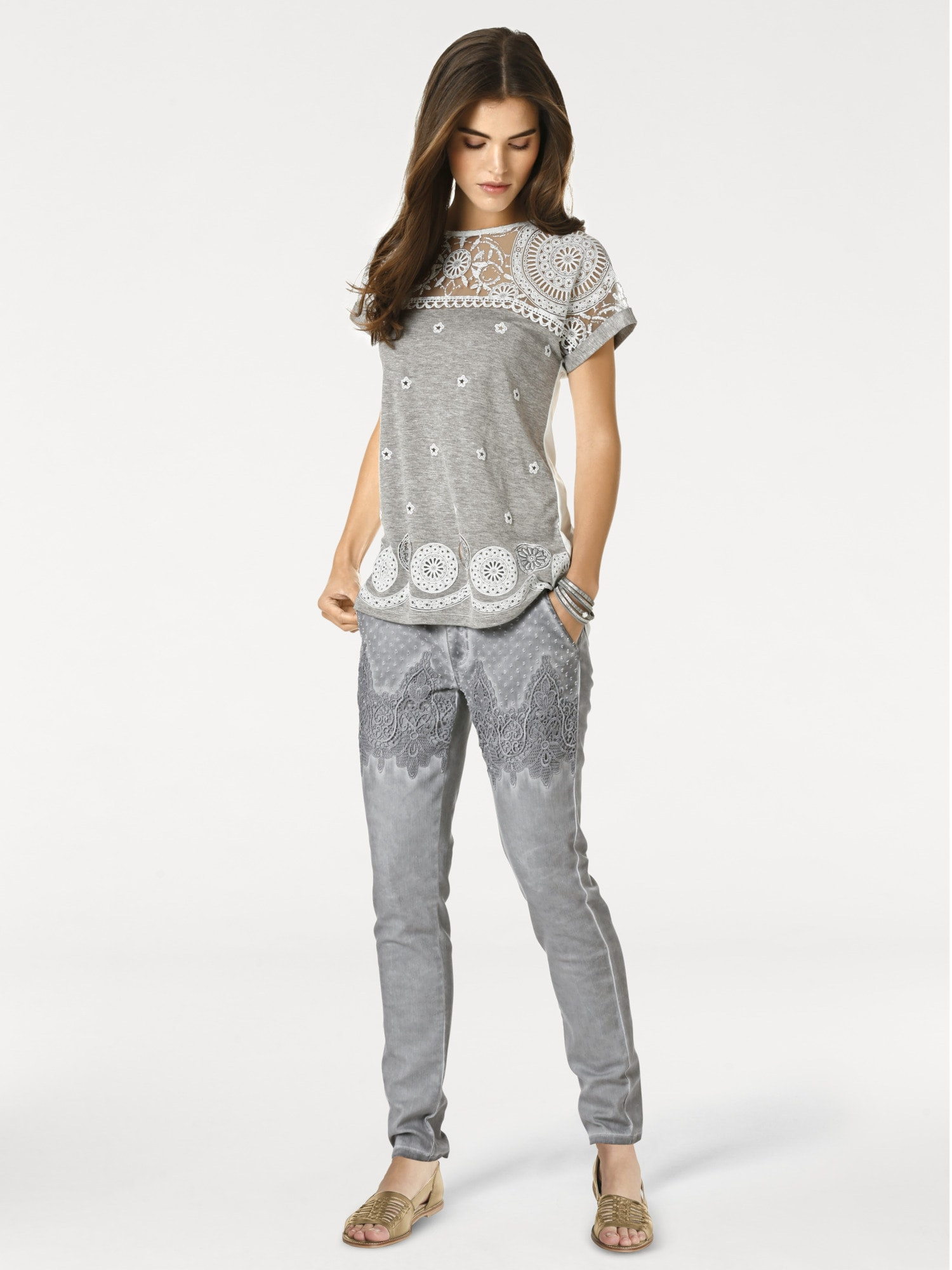 heine CASUAL Spitzenshirt mit Druck | Bekleidung > Shirts > Spitzenshirts | Grau | Elasthan | Heine Casual
