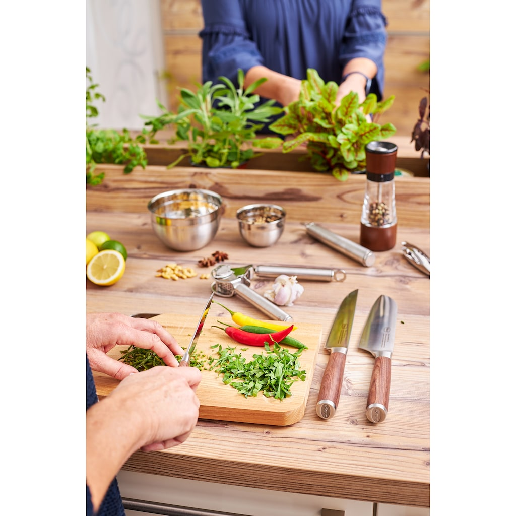 RÖSLE Santokumesser »Masterclass«, (1 tlg.), scharfes Küchenmesser zum Schneiden von Fleisch, Fisch, Geflügel und Gemüse, Made in Solingen, Klingenspezialstahl, ergonomischer Griff, Nussbaumholz