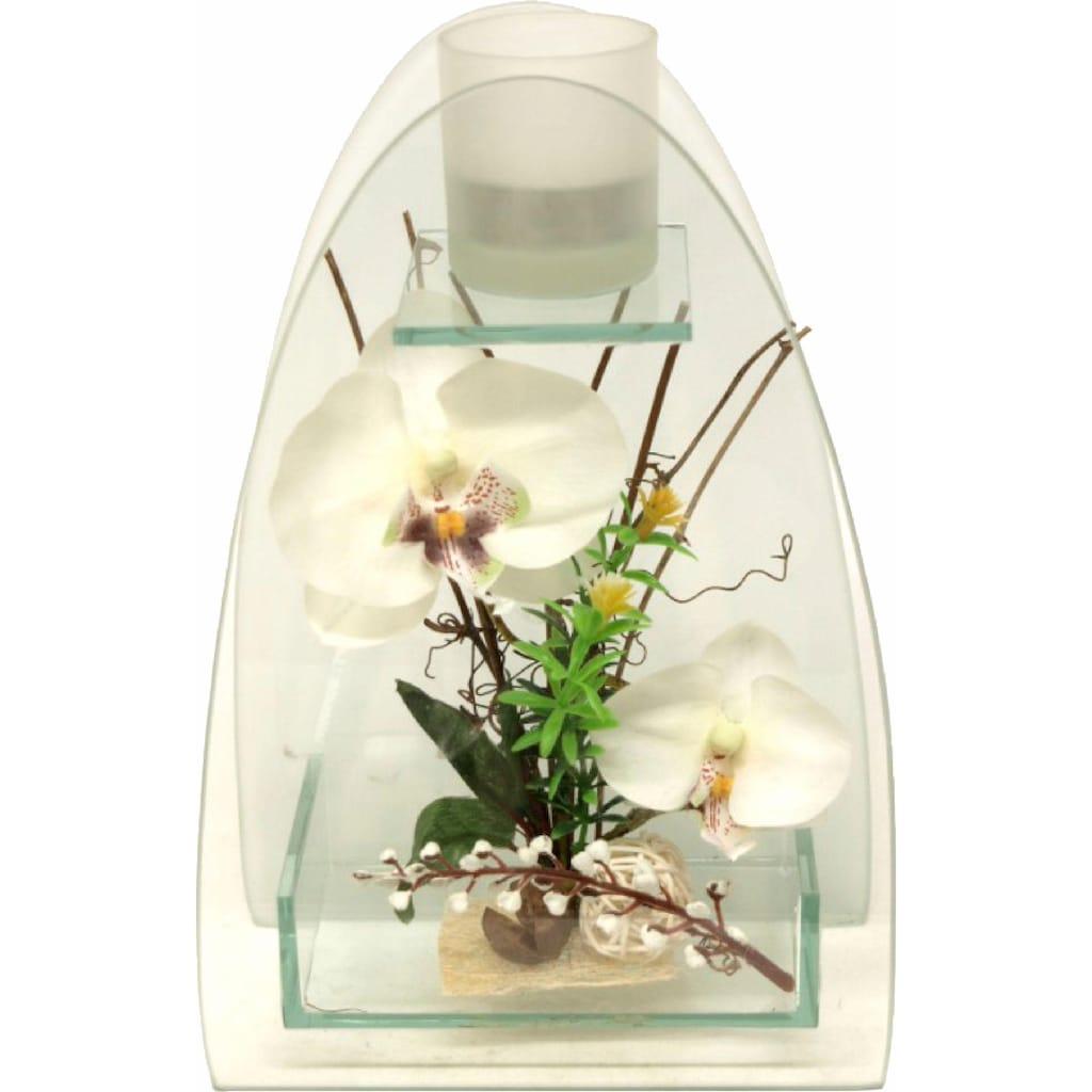 I.GE.A. Kunstpflanze »Orchidee mit Teelichthalter 23/15 cm«