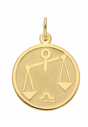 Adelia´s Kettenanhänger »333 Gold Sternzeichen Anhänger Waage Ø 16 mm«, Goldschmuck... kaufen