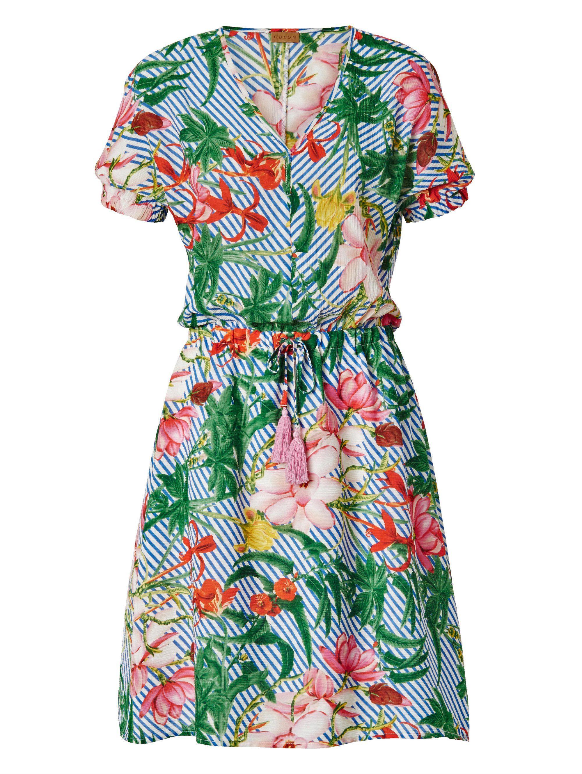 odeon -  Kleid mit Blumen- und Streifen-Druck