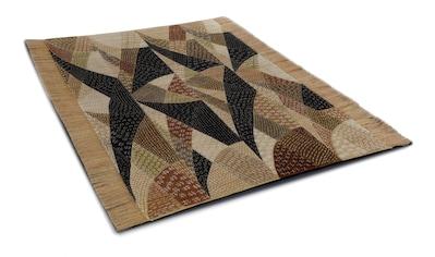 DIE HAUSKUNST Teppich »Chiya Tiama 4«, rechteckig, 4 mm Höhe, Flachgewebe, handgewebt, mit Fransen, Wohnzimmer kaufen