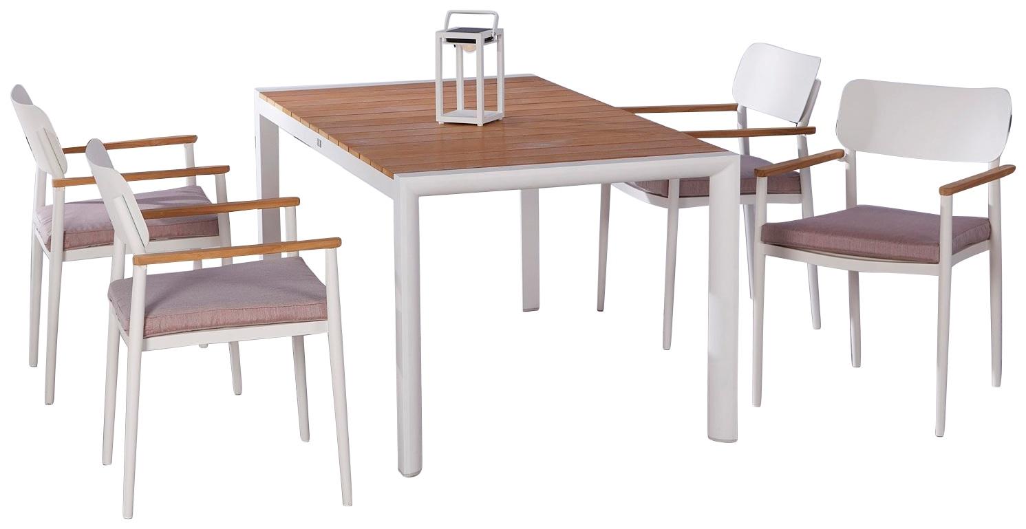 BEST Gartenmöbelset Dakar 4 Sessel 4 Sitzkissen Tisch 160x90 cm